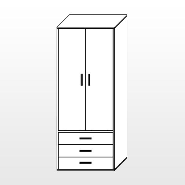 Шкаф (2 двери, 3 ящика)